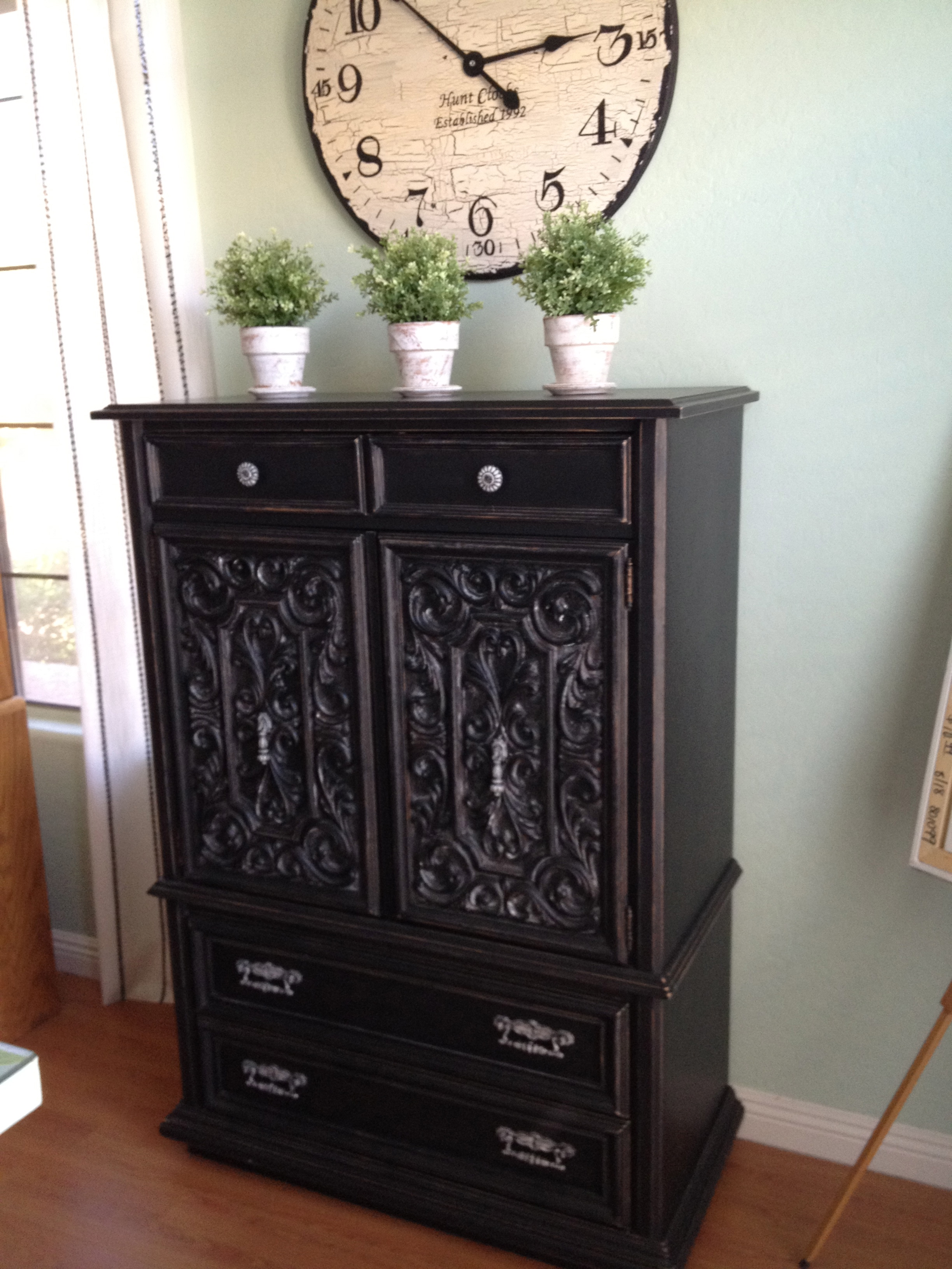 black shabby chic armoire house of rumours. Black Bedroom Furniture Sets. Home Design Ideas