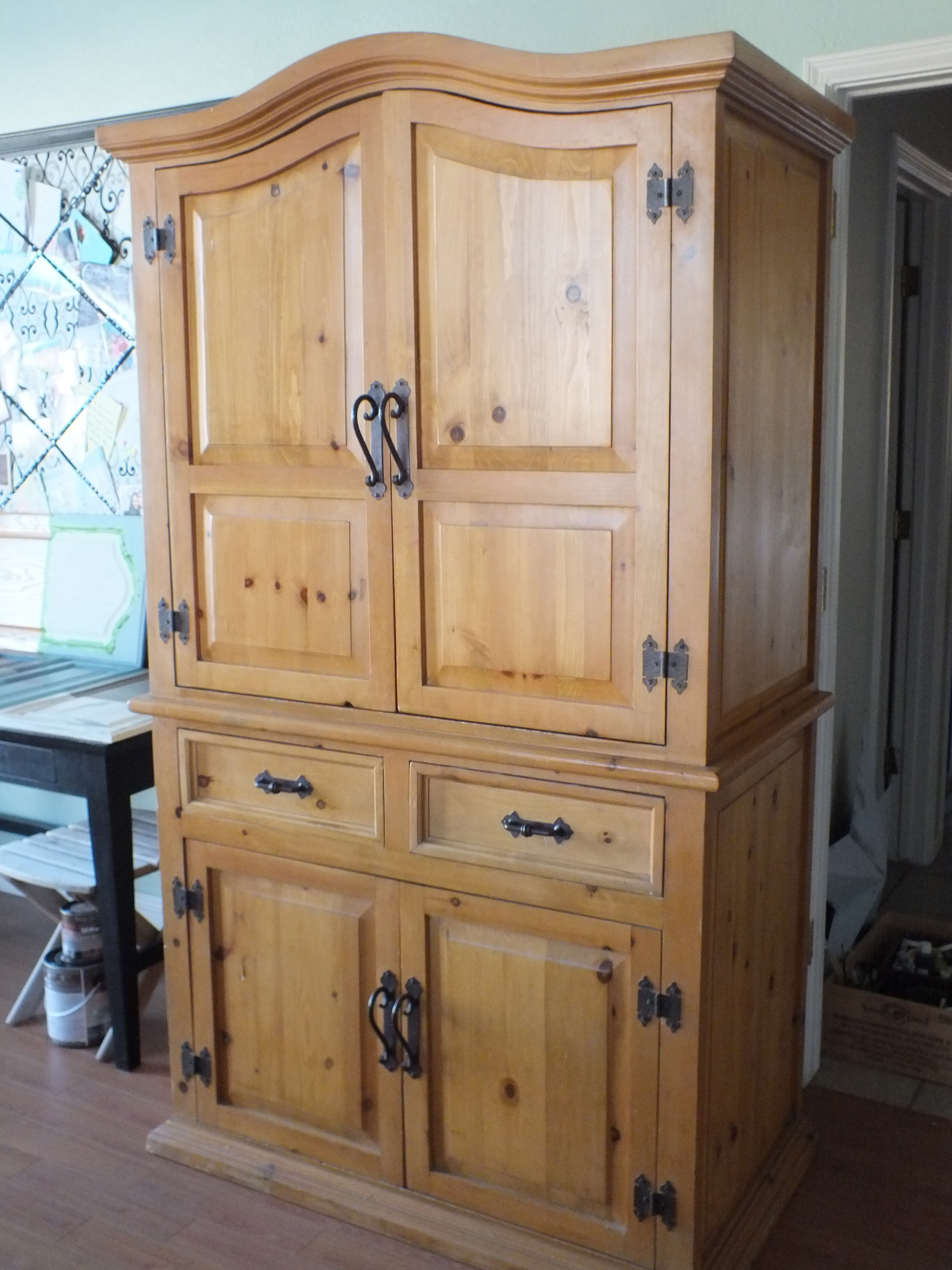 Tired Of The Rustic Pine Look??? Armoire Facelift