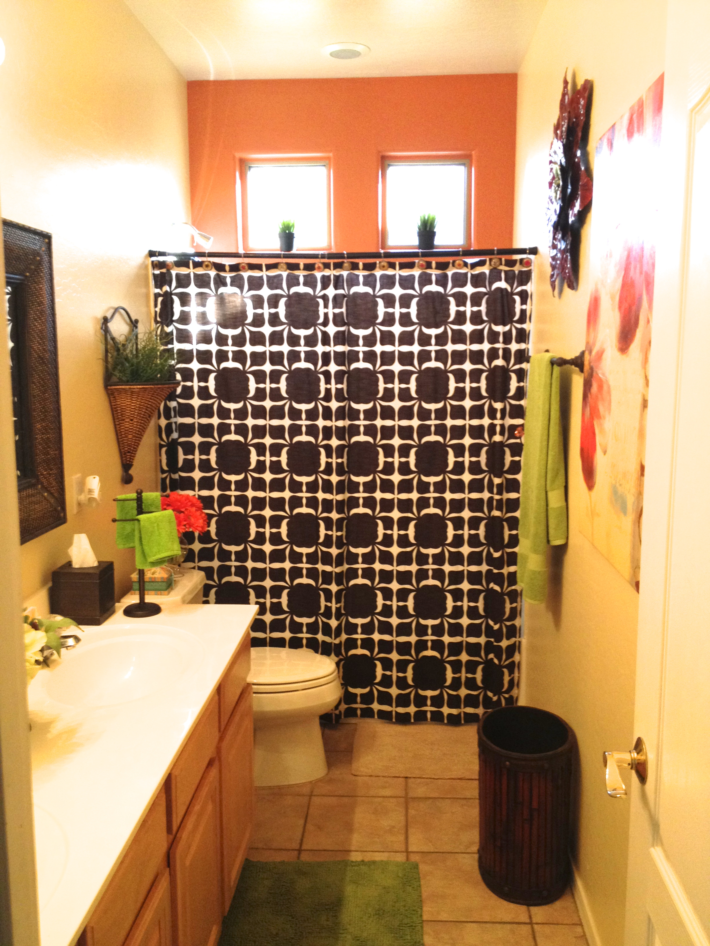 Marvelous  shower curtain from Target and thats what started the Re creation of the bathroom I also was dead set on adding a bright green u orange as accent